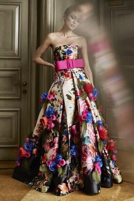 Khoon Hooi Misty Strapless Floral Print Taffeta Ball Gown