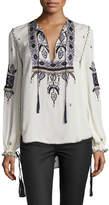 Haute Hippie Talitha Embroidered Silk Blouse, Moonstone