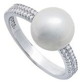 Crislu Platinum Over Silver Freshwater Pearl Cz Ring.