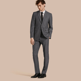 Burberry Modern Fit Wool Part-canvas Suit , Size: 44r, Grey