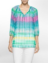 Calvin Klein Multi-Stripe 3/4 Sleeve Top