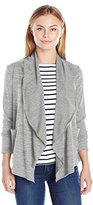 Notations Women's Long Sleeve Shawl Collar Cardigan with Cascading Front Sweater