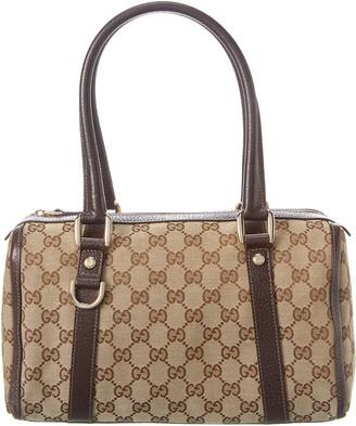 Gucci Brown Gg Canvas Abbey Small Boston Bag