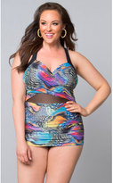 Kiyonna Plus Size Butterfly Print Sand & Glam Illusion Swimsuit