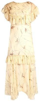 Marni Bird-print Raw-edge Ruffled Silk Dress - Womens - Yellow Multi