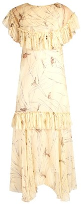 Marni Bird-print Raw-edge Ruffled Silk Dress - Yellow Multi