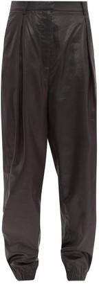 Tibi Liquid Drape Pleated Trousers - Womens - Black