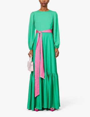 Diane von Furstenberg Amabel puff-sleeve silk-blend maxi dress