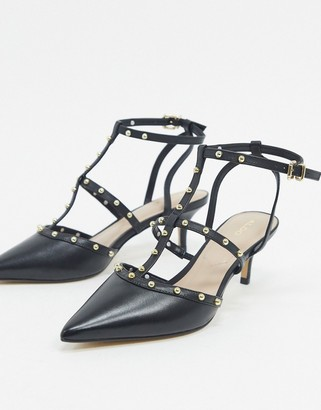 Aldo ederama leather studded stilletto mid heels in black