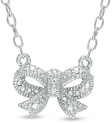 Zales Diamond Accent Beaded Bow Necklace in Sterling Silver