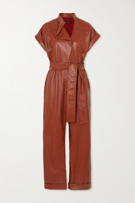 Oscar de la Renta Cropped Belted Leather Jumpsuit - Brick