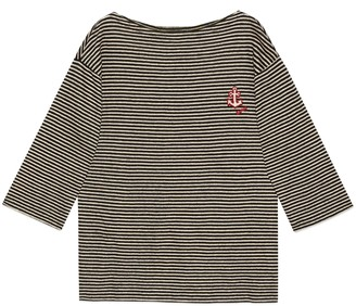 Gucci Striped linen T-shirt with anchor