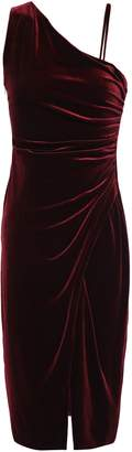 Black Halo Ruched Velvet Sheath Dress