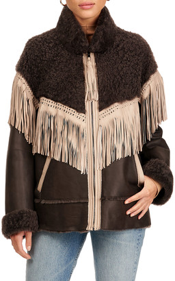 Christia Shearling Lamb Jacket With Fringes