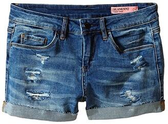 Blank NYC Kids Distressed Cuff Denim Shorts in Weekend Warrior (Big Kids) (Blue) Girl's Shorts