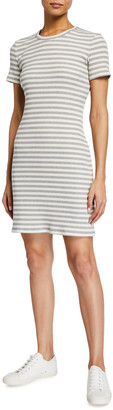 Theory Cherry Striped Ribbed Shirt Dress