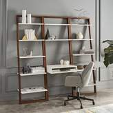 west elm Ladder Shelf Desk + Wide Bookshelf Set (White/Espresso)