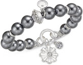 Charter Club Semi-Precious Large Round Bead Crystal-Enhanced Flower Charm Stretch Bracelet, Only at Macy's