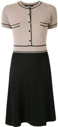 Paule Ka Contrast-Trim Flared Knit Dress