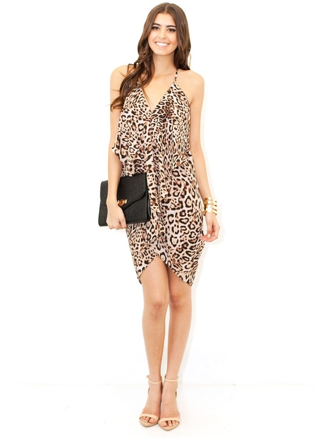 Olivaceous Print Drape Dress In Cheetah