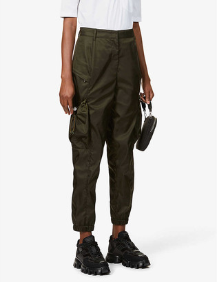 Prada High-rise tapered recycled-woven trousers