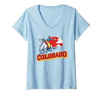 Womens Colorado Retro Bronco Riding Cowboy Vintage Graphic V-Neck T-Shirt