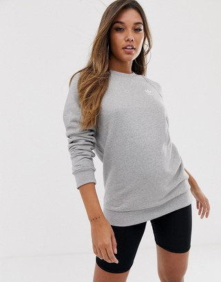 adidas Essential crew neck sweatshirt in grey