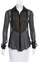 L'Agence Bead-Embellished Button-Up Top
