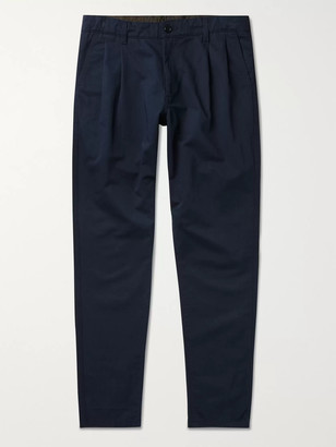 Aspesi Slim-Fit Pleated Cotton And Linen-Blend Twill Trousers