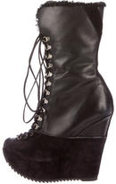 Saint Laurent Shearling-Trimmed Wedge Boots
