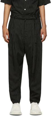 BED J.W. FORD Black Two Tuck Striped Trousers