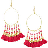 Panacea Beaded Hoop Drop Earrings w/ Tassels, Pink