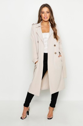 boohoo Petite Utility Button Detail Trench Coat