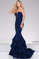 Jovani Strapless Long Tiered Trumpet Prom Dress 31625