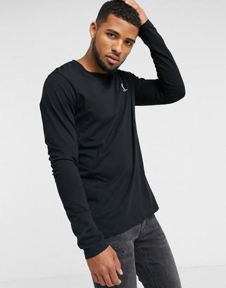 Religion organic cotton long sleeve t-shirt in black