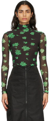 Ganni Brown and Green Printed Mesh Turtleneck
