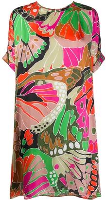 Paule Ka Butterfly Wing-Print Shift Dress
