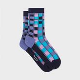 Paul Smith Women's Navy Bright Check Socks