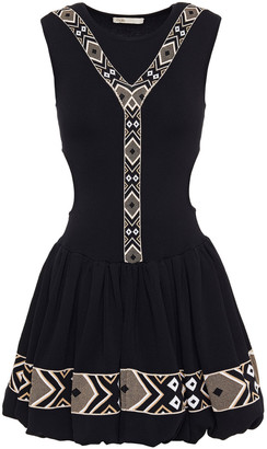 Maje Rochelle Jacquard-trimmed Cutout Ribbed-knit Mini Dress