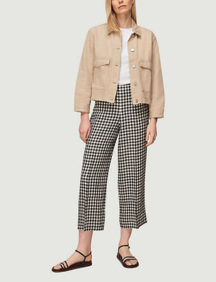 Whistles Gingham-print cropped high-rise linen trousers