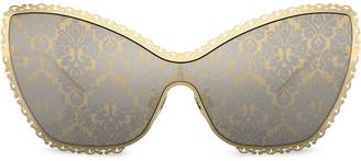 Cat Eye Baroque Print Sunglasses