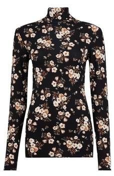 Dorothy Perkins Womens **Tall Navy Floral Print High Neck Top