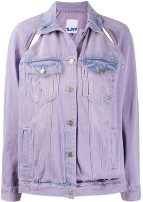 Sjyp Slash-Effect Washed Denim Jacker