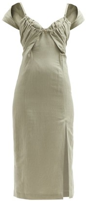 Jacquemus Tovallo Ruched-front Linen-blend Midi Dress - Light Green