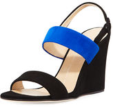 Giuseppe Zanotti Two-Band Suede Wedge Sandal