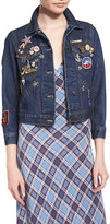 Marc Jacobs 3/4-Sleeve Embellished Denim Jacket, Resin Rinse