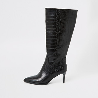 River Island Black croc embossed knee high pointed boots