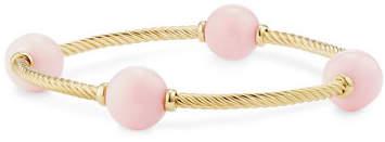 David Yurman 12mm Mustique 18K Pink Opal Station Bracelet