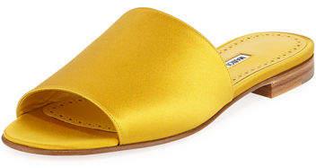 Manolo Blahnik Rapalla Satin Flat Slide Sandal