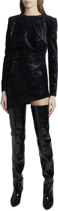 Saint Laurent Snake Velvet Long-Sleeve Asymmetric Mini Dress